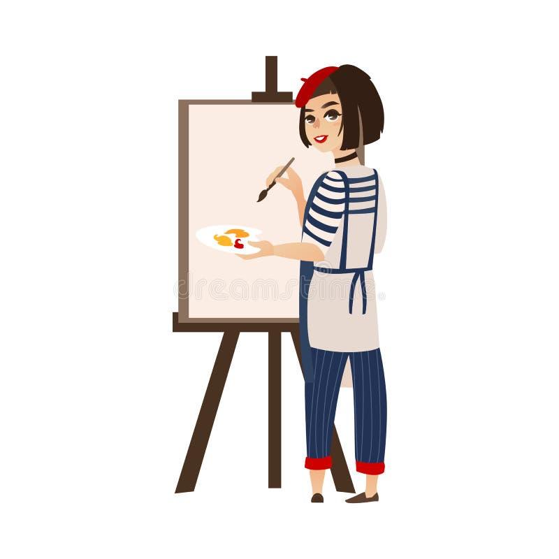 Διανυσματικός επίπεδος ζωγράφος καλλιτεχνών γυναικών που επισύρει την προσοχή easel απεικόνιση αποθεμάτων