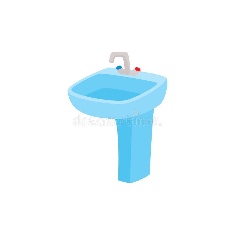 Διανυσματικός επίπεδος κεραμικός washbasin ή νεροχύτης με τη στρόφιγγα διανυσματική απεικόνιση