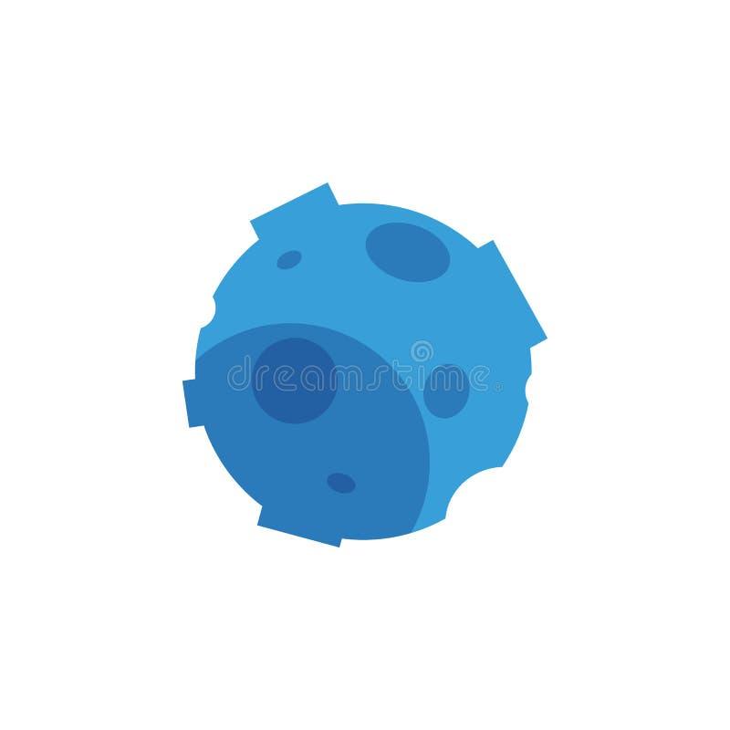 Διανυσματικός επίπεδος μπλε μετεωρίτης, δορυφόρος, κρατήρες πλανητών διανυσματική απεικόνιση