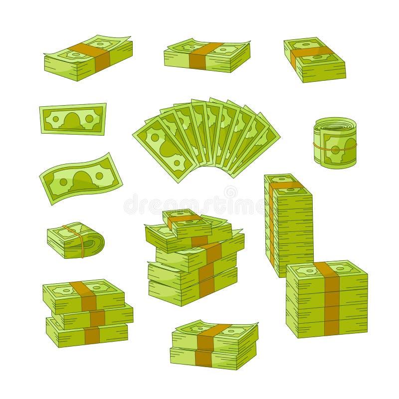 Διανυσματικός επίπεδος σωρός χρημάτων μετρητών, σύνολο σωρών απεικόνιση αποθεμάτων