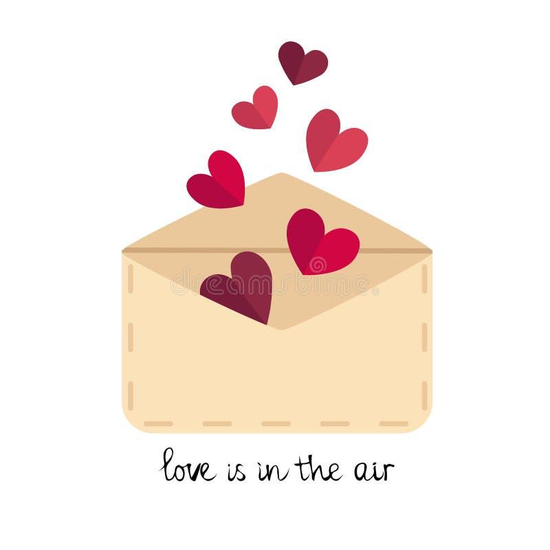 Διανυσματικός επίπεδος φάκελος αγάπης, επιστολή με τις καρδιές ελεύθερη απεικόνιση δικαιώματος