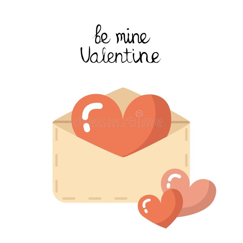 Διανυσματικός επίπεδος φάκελος αγάπης, επιστολή με τις καρδιές διανυσματική απεικόνιση