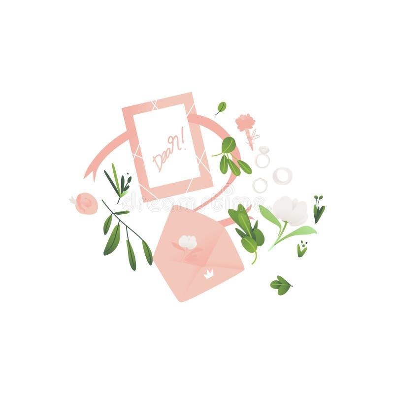 Διανυσματικός επίπεδος φάκελος με την κάρτα γαμήλιας πρόσκλησης απεικόνιση αποθεμάτων