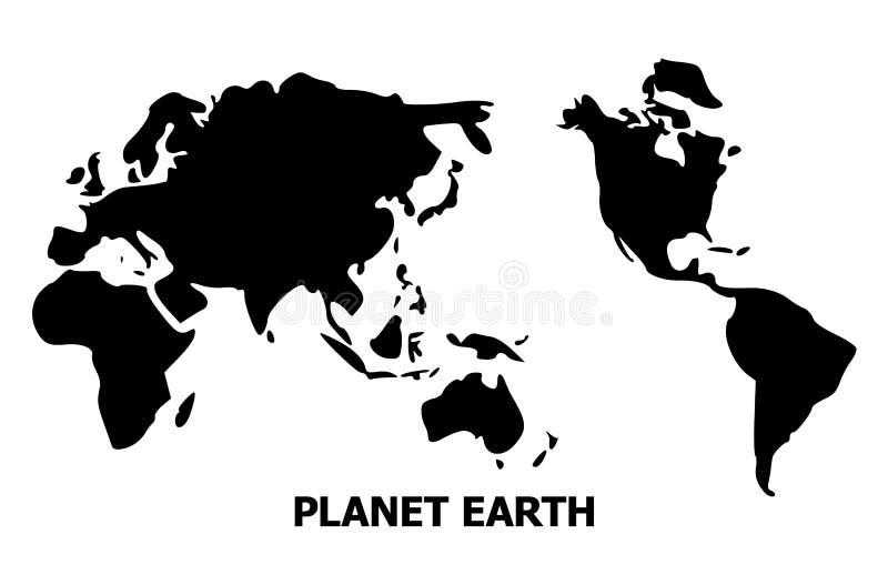 Διανυσματικός επίπεδος χάρτης της γης με το όνομα απεικόνιση αποθεμάτων