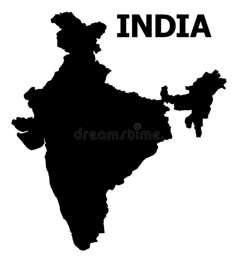 Διανυσματικός επίπεδος χάρτης της Ινδίας με το όνομα απεικόνιση αποθεμάτων