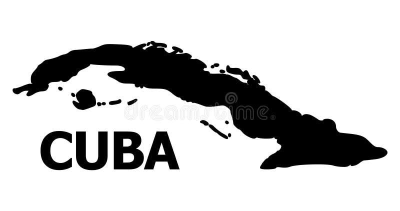 Διανυσματικός επίπεδος χάρτης της Κούβας με τον τίτλο ελεύθερη απεικόνιση δικαιώματος
