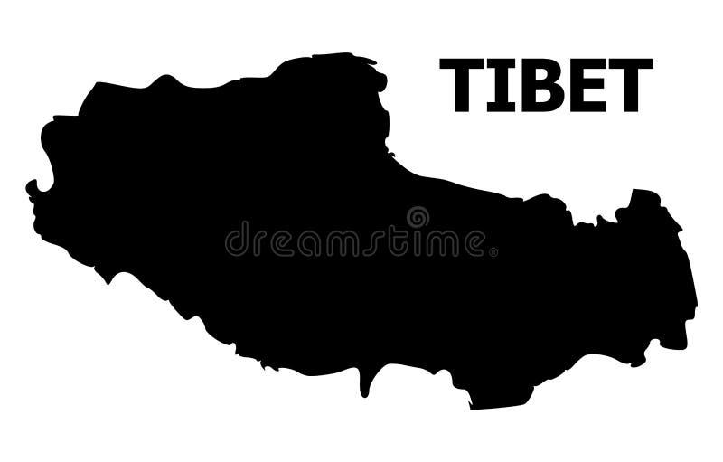 Διανυσματικός επίπεδος χάρτης του Θιβέτ με το όνομα απεικόνιση αποθεμάτων