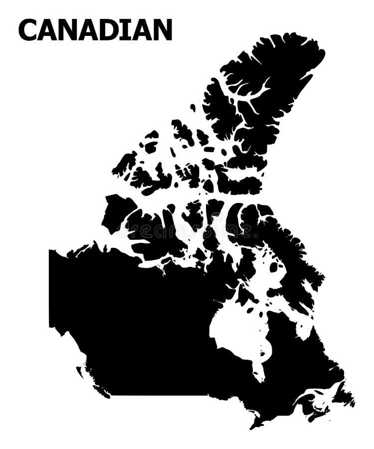 Διανυσματικός επίπεδος χάρτης του Καναδά με το όνομα διανυσματική απεικόνιση
