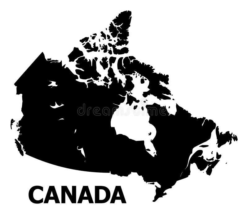 Διανυσματικός επίπεδος χάρτης του Καναδά με το όνομα ελεύθερη απεικόνιση δικαιώματος