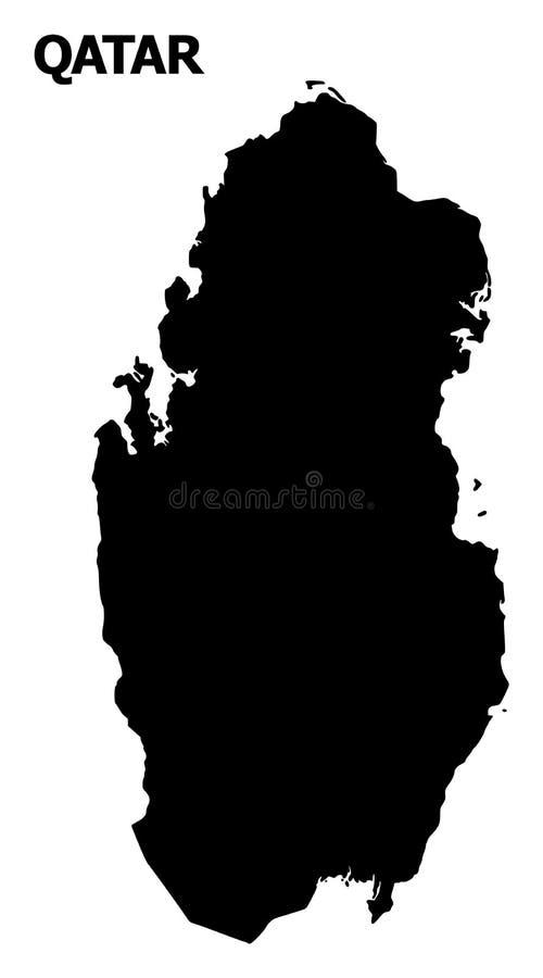 Διανυσματικός επίπεδος χάρτης του Κατάρ με το όνομα διανυσματική απεικόνιση