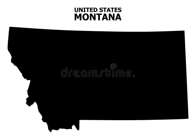 Διανυσματικός επίπεδος χάρτης του κράτους της Μοντάνα με τον τίτλο απεικόνιση αποθεμάτων