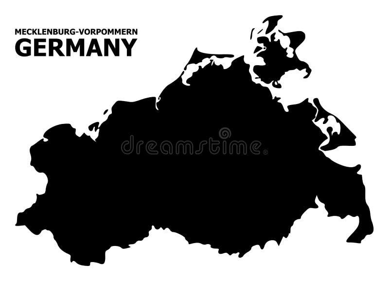 Διανυσματικός επίπεδος χάρτης του κράτους της Mecklenburg-$l*Vorpommern με το όνομα απεικόνιση αποθεμάτων