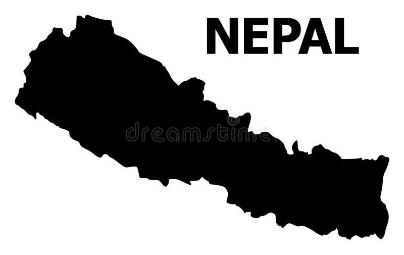 Διανυσματικός επίπεδος χάρτης του Νεπάλ με το όνομα ελεύθερη απεικόνιση δικαιώματος