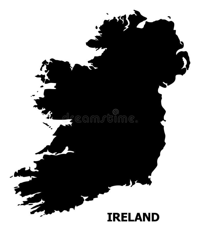 Διανυσματικός επίπεδος χάρτης του νησιού της Ιρλανδίας με τον τίτλο ελεύθερη απεικόνιση δικαιώματος