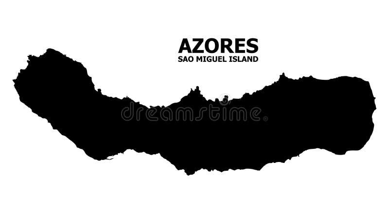 Διανυσματικός επίπεδος χάρτης του νησιού του Miguel Σάο με το όνομα διανυσματική απεικόνιση