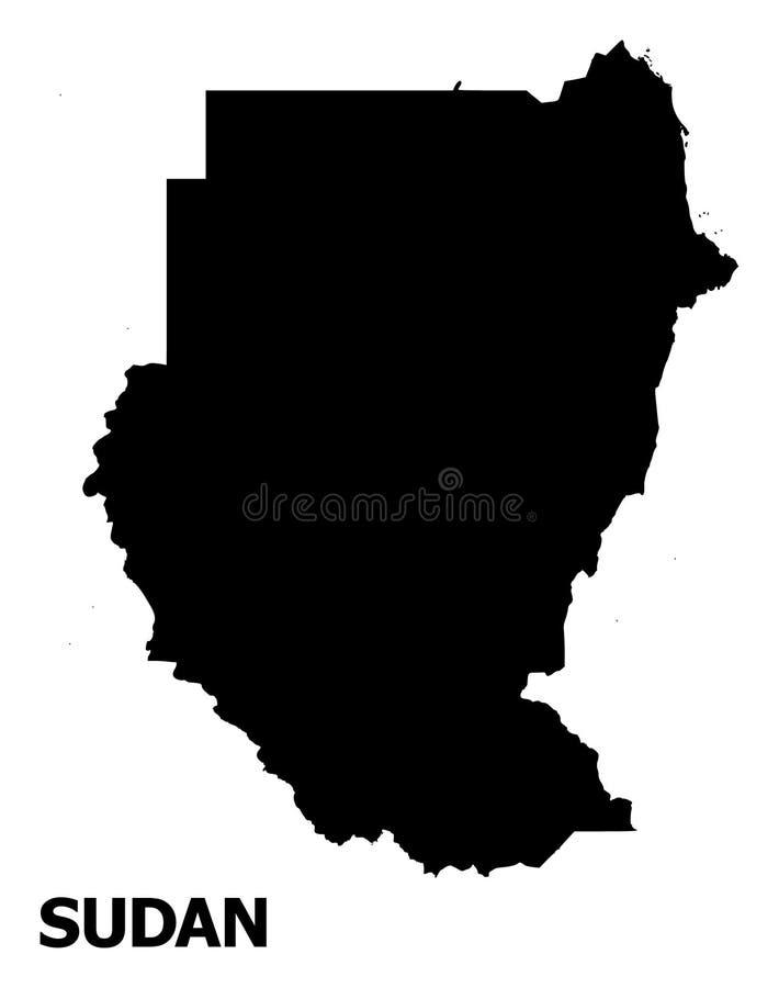 Διανυσματικός επίπεδος χάρτης του Σουδάν με το όνομα ελεύθερη απεικόνιση δικαιώματος