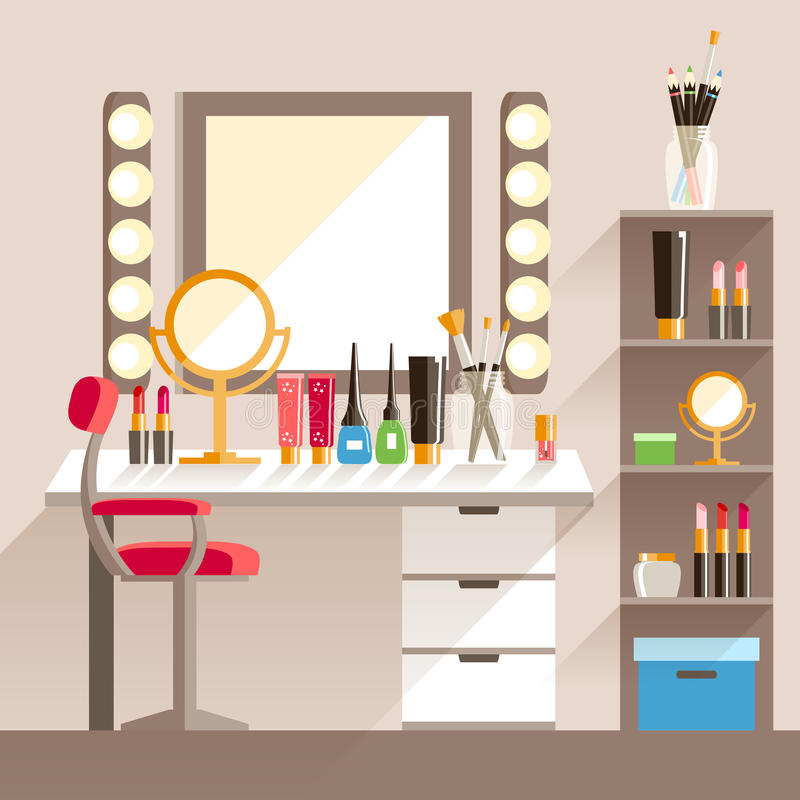 Διανυσματικός επίπεδος εργασιακός χώρος εργαζομένων s Makeup Καθρέφτης, διακοσμητικό cosmet ελεύθερη απεικόνιση δικαιώματος