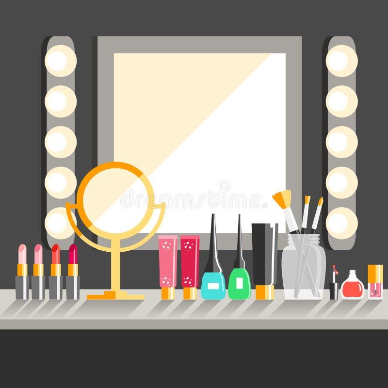 Διανυσματικός επίπεδος εργασιακός χώρος εργαζομένων s Makeup Καθρέφτης, διακοσμητικό cosmet απεικόνιση αποθεμάτων
