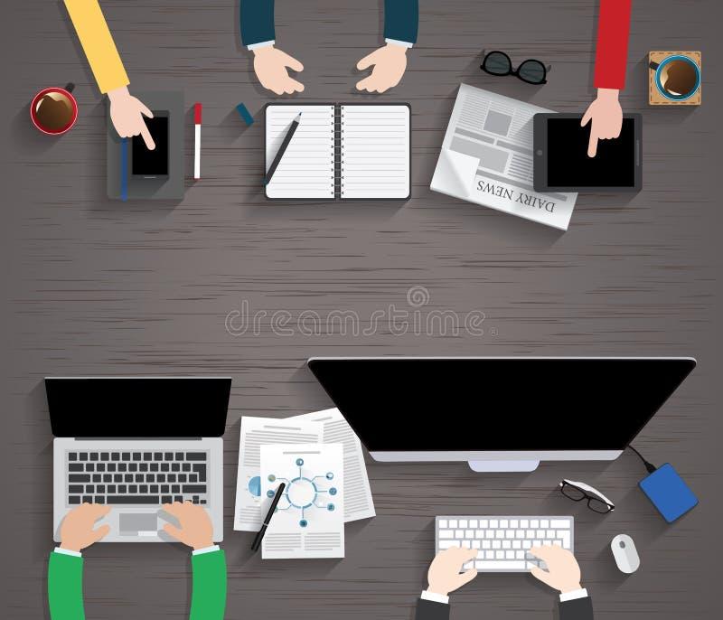 Διανυσματικός επίπεδος εργασιακός χώρος του σχεδιαστή με την απεικόνιση συσκευών απεικόνιση αποθεμάτων