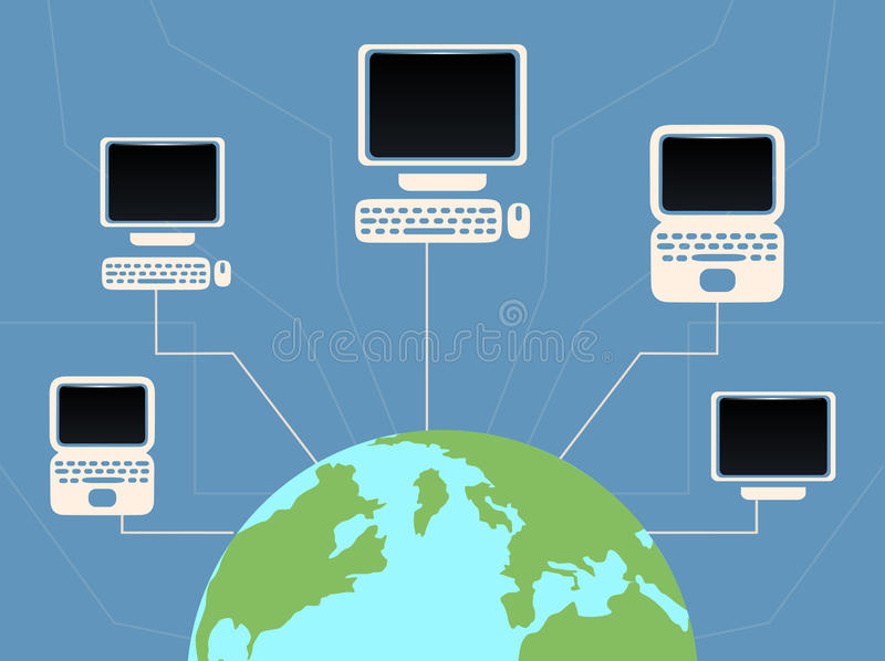 Διανυσματικός επίπεδος πλανήτης Γη απεικόνισης και συνδεδεμένοι υπολογιστές ελεύθερη απεικόνιση δικαιώματος