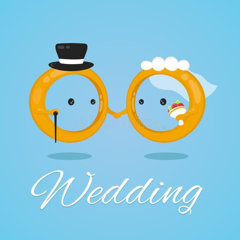 Διανυσματικός επίπεδος χαρακτήρας απεικόνισης σχεδίου γαμήλιων δαχτυλιδιών γάμος νεόνυμφων εκκλησιών τελετής νυφών ελεύθερη απεικόνιση δικαιώματος