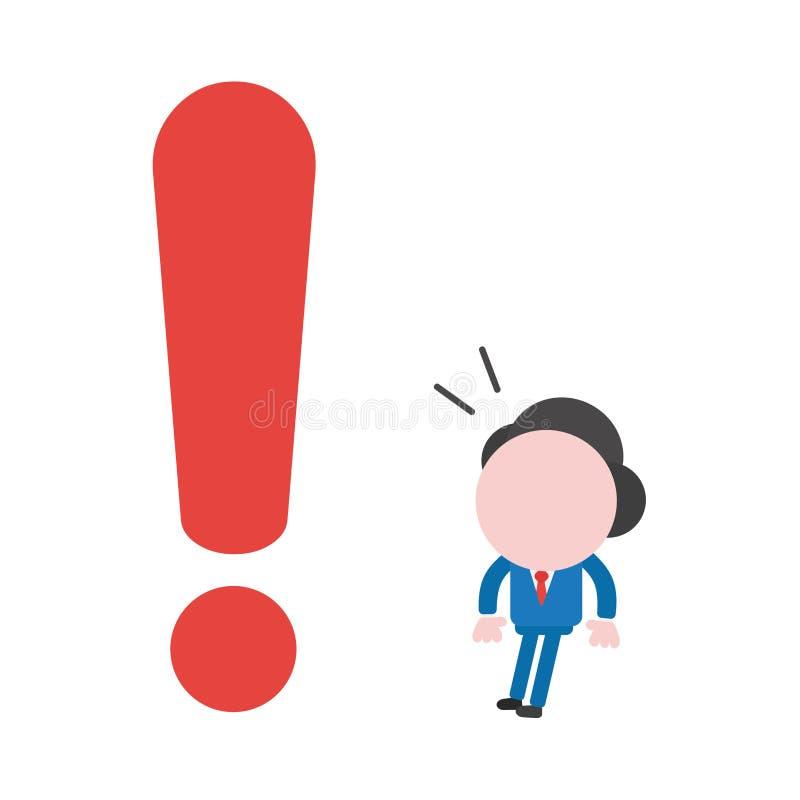 Διανυσματικός επιχειρηματίας απεικόνισης που φαίνεται κόκκινο σημάδι θαυμαστικών ελεύθερη απεικόνιση δικαιώματος