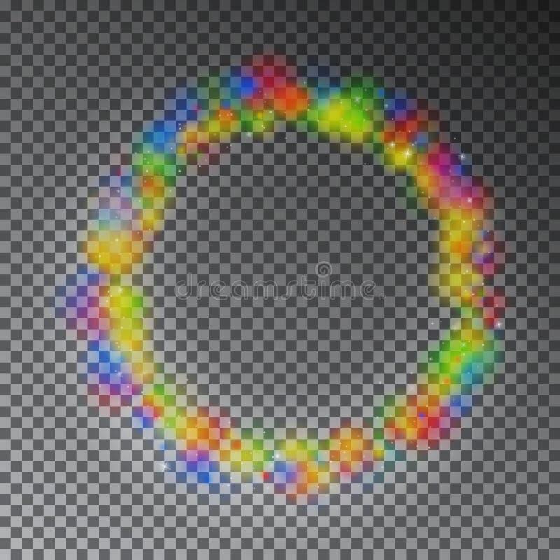 Διανυσματικός ζωηρόχρωμος μαγικός κύκλος χρώματος Επίδραση δαχτυλιδιών ουράνιων τόξων πυράκτωσης με το σπινθήρισμα Ακτινοβολήστε  ελεύθερη απεικόνιση δικαιώματος