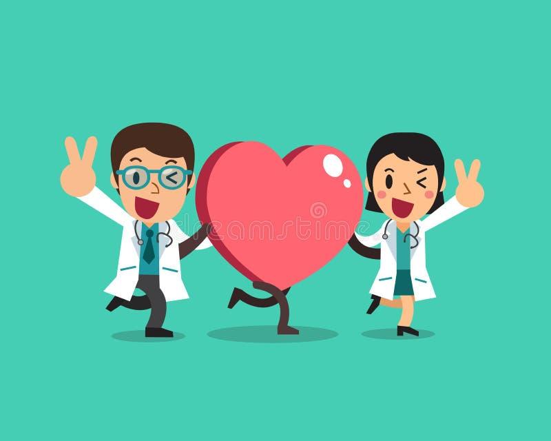 Διανυσματικός θηλυκός γιατρός κινούμενων σχεδίων και αρσενικός γιατρός με το μεγάλο σημάδι καρδιών ελεύθερη απεικόνιση δικαιώματος