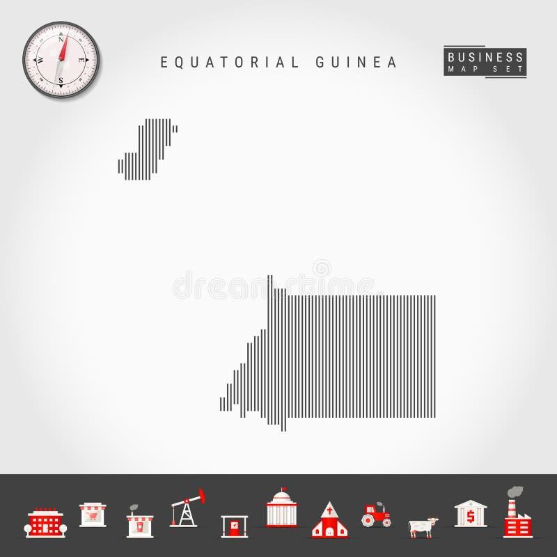Διανυσματικός κάθετος χάρτης γραμμών της Ισημερινής Γουινέας Ριγωτή σκιαγραφία Ρεαλιστική πυξίδα Επιχειρησιακά εικονίδια ελεύθερη απεικόνιση δικαιώματος