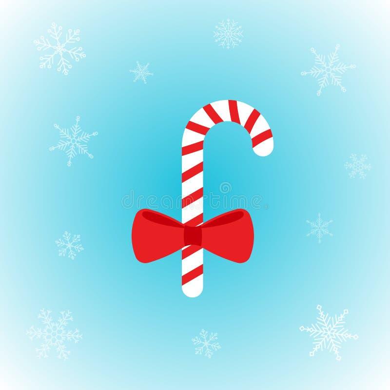 Διανυσματικός κάλαμος καραμελών Χριστουγέννων στο επίπεδο ύφος με snowflakes στο χειμερινό υπόβαθρο διανυσματική απεικόνιση