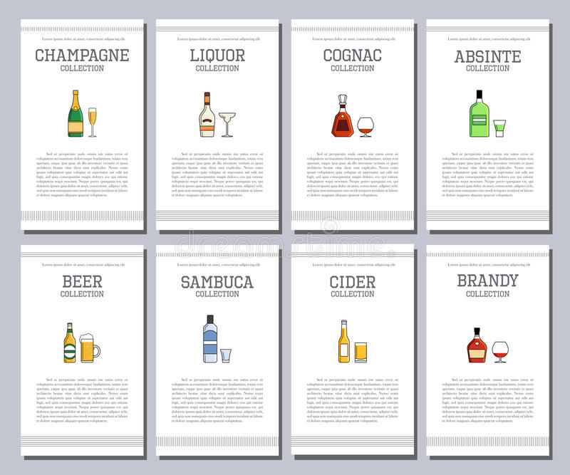 Διανυσματικός κατάλογος οινοπνεύματος με τα εικονίδια για τις επιλογές φραγμών Λιμένας ρουμιού τζιν βερμούτ tequila ουίσκυ κρασιο απεικόνιση αποθεμάτων