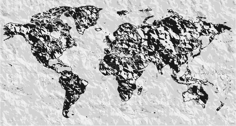 Διανυσματικός κενός μαύρος, γκρίζος παρόμοιος παγκόσμιος χάρτης σκιαγραφιών Monochrom ελεύθερη απεικόνιση δικαιώματος