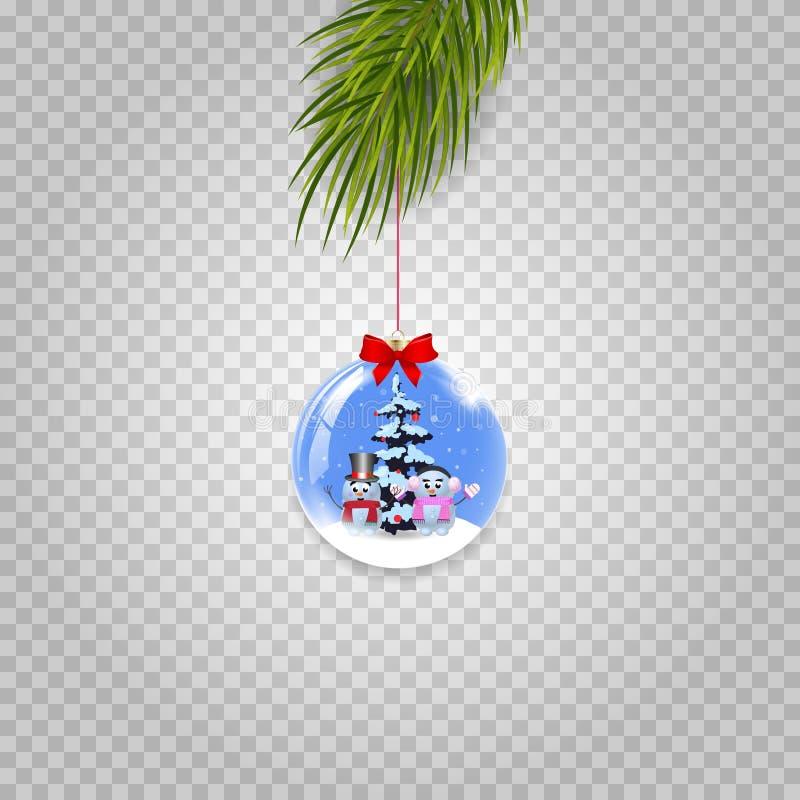 Διανυσματικός κλάδος χριστουγεννιάτικων δέντρων με την εορταστική σφαίρα που απομονώνεται στο διαφανές υπόβαθρο ελεύθερη απεικόνιση δικαιώματος