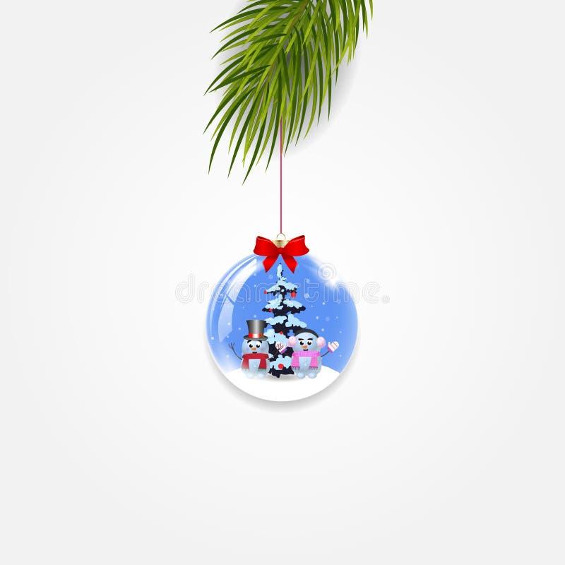 Διανυσματικός κλάδος χριστουγεννιάτικων δέντρων με την εορταστική σφαίρα που απομονώνεται στο άσπρο υπόβαθρο απεικόνιση αποθεμάτων