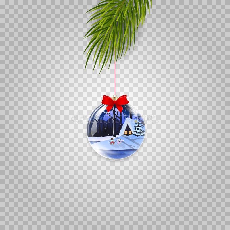 Διανυσματικός κλάδος χριστουγεννιάτικων δέντρων με την όμορφη σφαίρα που απομονώνεται στο διαφανές υπόβαθρο απεικόνιση αποθεμάτων