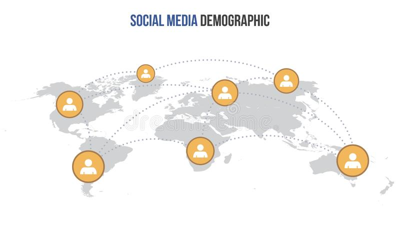 Διανυσματικός κοινωνικός infographic χάρτης μέσων διανυσματική απεικόνιση