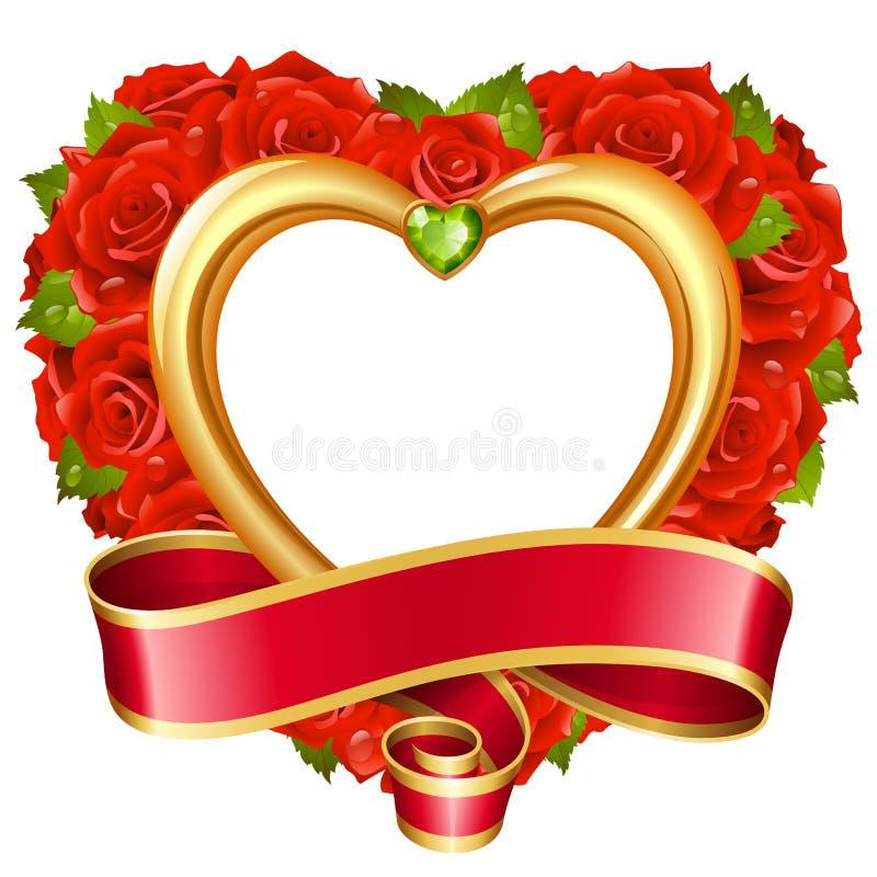 Διανυσματικός κόκκινος αυξήθηκε πλαίσιο με μορφή της καρδιάς απεικόνιση αποθεμάτων