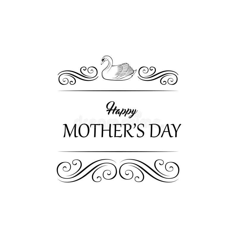 Διανυσματικός κύκνος - ευχετήρια κάρτα ημέρας μητέρων s Οι στρόβιλοι, filigree ακμάζουν τα στοιχεία απεικόνιση αποθεμάτων