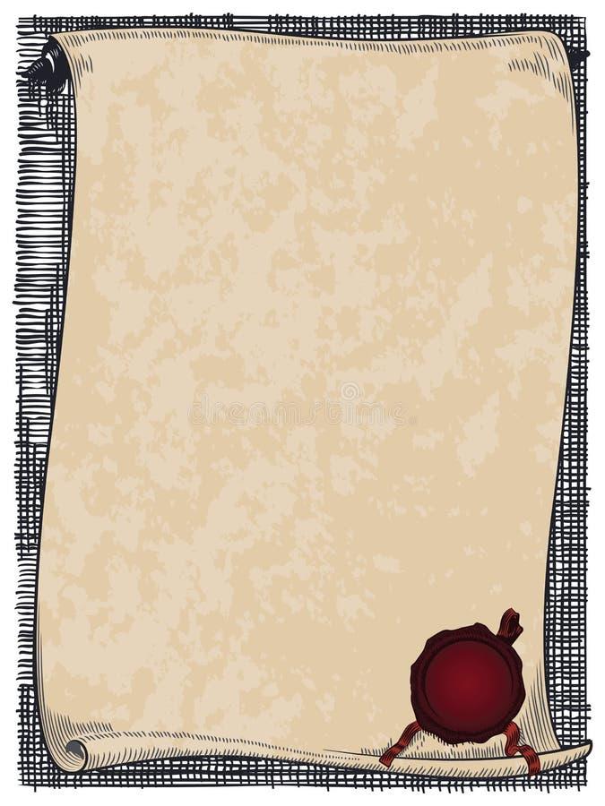 Διανυσματικός κύλινδρος με τη σφραγίδα για το φάκελο, τις προσκλήσεις ή τις ευχετήριες κάρτες ελεύθερη απεικόνιση δικαιώματος