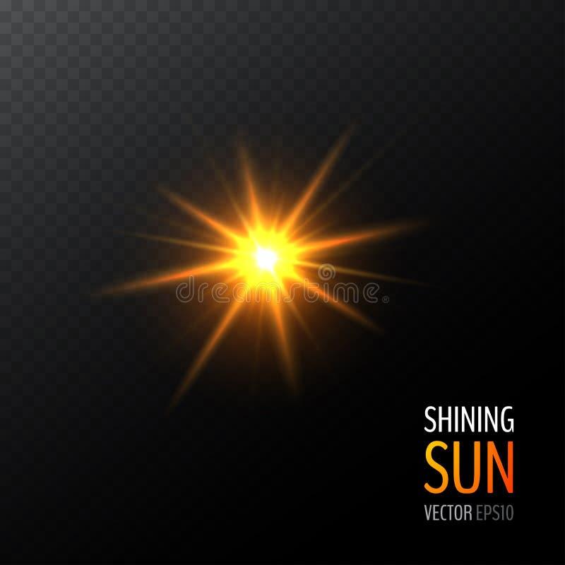 Διανυσματικός λάμποντας ήλιος απεικόνιση αποθεμάτων