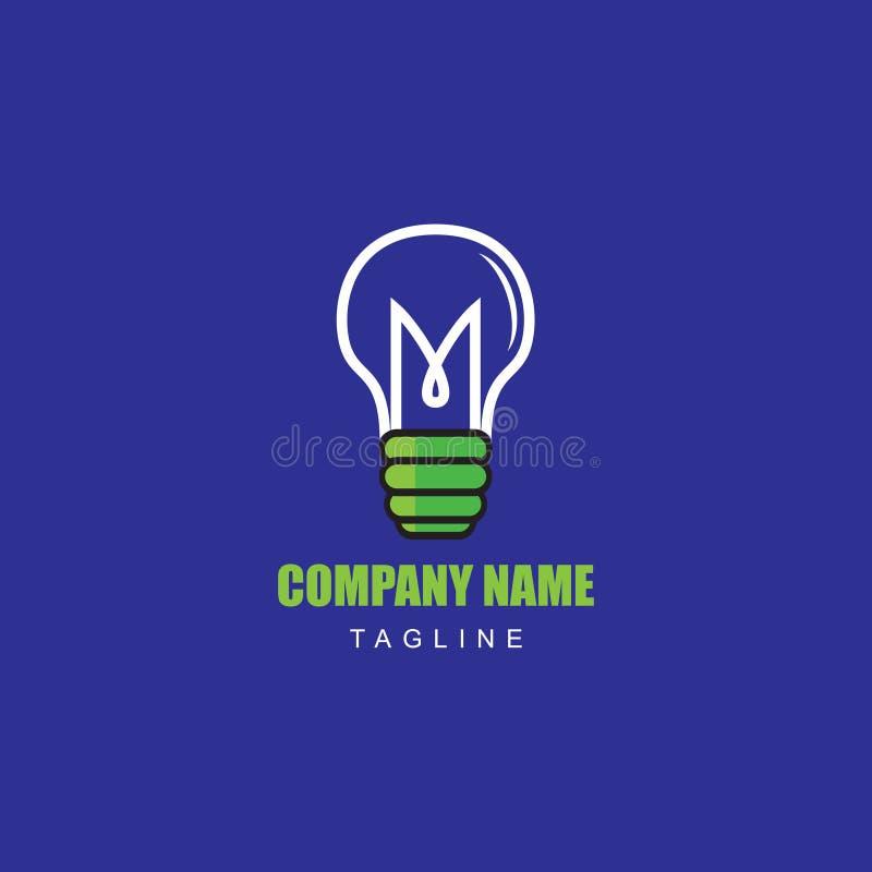 Διανυσματικός λαμπτήρας απεικόνισης ιδέας με το αρχικό γράμμα Μ για την επιχείρηση λογότυπων ηλεκτρολόγων στοκ φωτογραφία