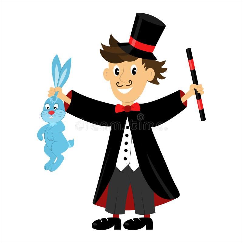 Διανυσματικός μάγος χαρακτήρα κινουμένων σχεδίων που κρατά μια μαγική ράβδο και ένα κουνέλι απεικόνιση αποθεμάτων