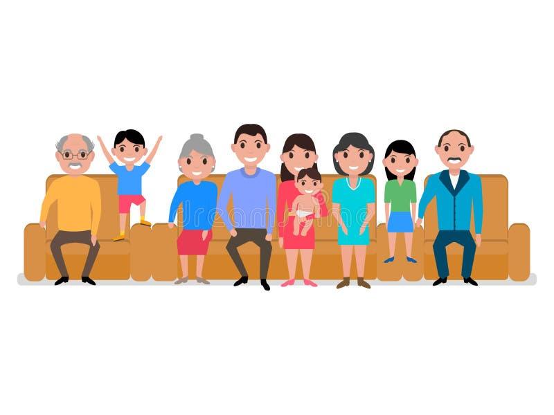Διανυσματικός μεγάλος ευτυχής οικογενειακός καναπές κινούμενων σχεδίων απεικόνισης διανυσματική απεικόνιση