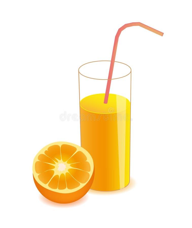 Διανυσματικός μισός πορτοκαλής και χυμός από πορτοκάλι στο γυαλί απεικόνιση αποθεμάτων