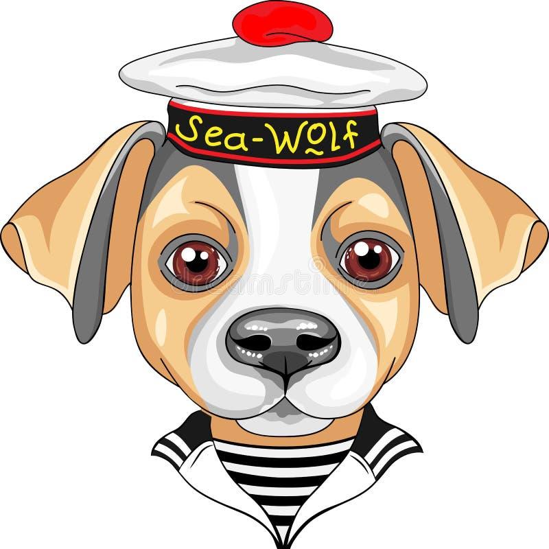 Διανυσματικός ναυτικός τεριέ του Jack Russell σκυλιών κινούμενων σχεδίων διανυσματική απεικόνιση