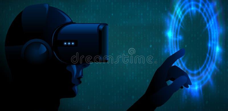Διανυσματικός νεαρός άνδρας που φορά τα τρισδιάστατα γυαλιά κασκών εικονικής πραγματικότητας και την μπλε πυίδα ή φουτουριστική δ ελεύθερη απεικόνιση δικαιώματος