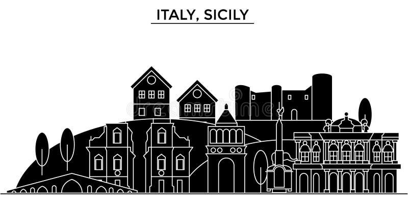 Διανυσματικός ορίζοντας πόλεων αρχιτεκτονικής της Ιταλίας, Σικελία απεικόνιση αποθεμάτων