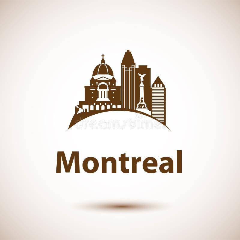 Διανυσματικός ορίζοντας πόλεων με τα ορόσημα Μόντρεαλ Κεμπέκ Καναδάς ελεύθερη απεικόνιση δικαιώματος