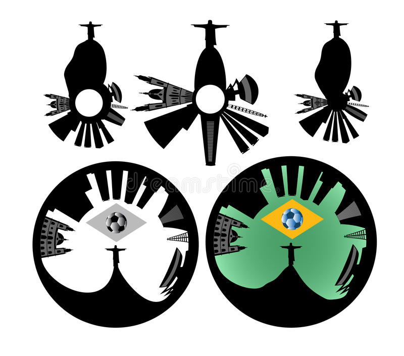 Διανυσματικός ορίζοντας Ρίο ντε Τζανέιρο - μοναδικό ύφος απεικόνιση αποθεμάτων