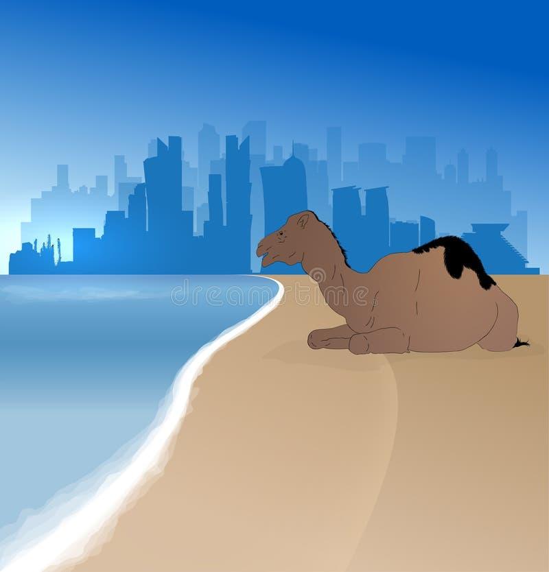 Διανυσματικός ορίζοντας σκιαγραφιών Doha ελεύθερη απεικόνιση δικαιώματος